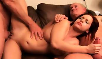 buxom bella needs money and blows two old guys before fucking