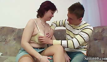 hairy older step mother seduce son to fuck her