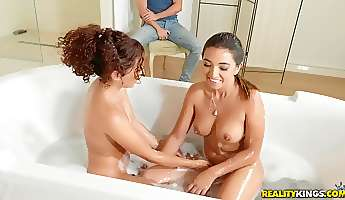 beautiful lesbos have a bath together and have dirty fun