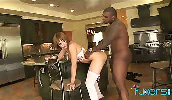 red haired hooker with braces gets her pussy and anus blacked
