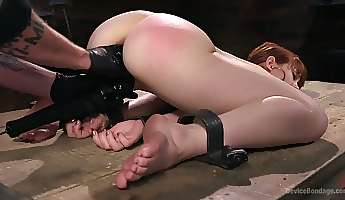 restrained red haired hooker alexa nova gets her twat punished