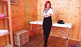 mouth watering british policewoman dolly gets naked in a massage parlor