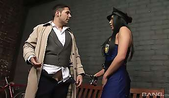 man eating bitch in sexy police uniform josephine is fucked by horny detective