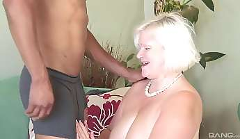 blonde granny needs to moan loudly while a black guy bangs her