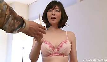 lovely takeuchi rie gets her tiny cunt drilled with a dildo