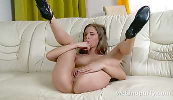 this whore likes to wear heels and she is one that loves touching her fanny