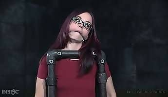nerdy redhead ivy addams takes a chance in bdsm workout