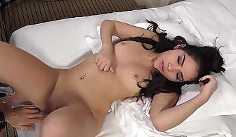 latina amateur on her back for a delightful dildo fucking