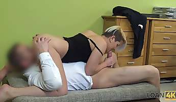 short haired slut with sexy curves rides his dick