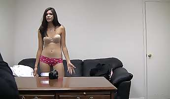 latina college girl gets on her knees and sucks cock