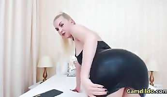 latex blonde babe sucking and fucking a dildo on webcam