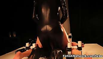sadie holmes turns her cbt slave into a eunuch after his last handjob