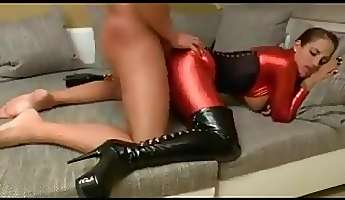 german wench in high boots and spandex fucking