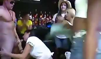 sexy horny ladies sucking dick in the club
