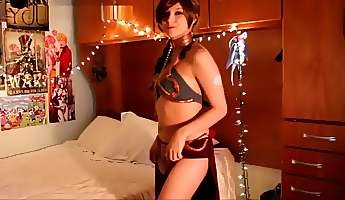 slave leia stripping and dancing  star wars cosplay