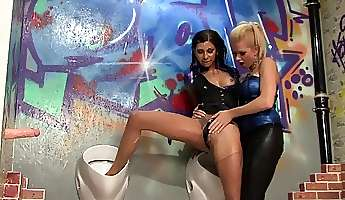 charming babe takes a big load of slime on ass at gloryhole