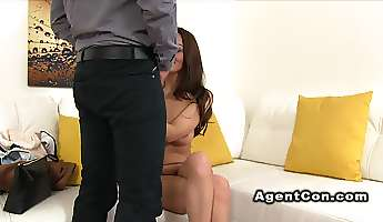 fake agent bangs model in shoes