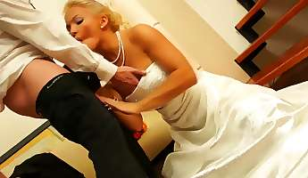 bride sucks and fucks on staircase with another babe watching