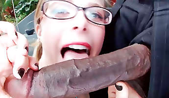 nerdy blonde always wanted to suck a big black dick