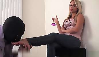 sexy mistress human furniture and feet worship slave