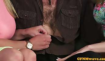 femdom babes jerking cock during cfnm