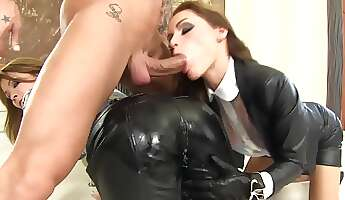 two chicks share a monster dick