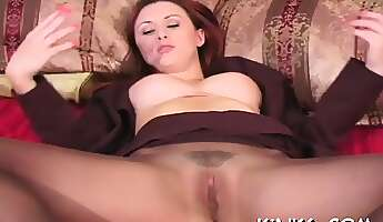 fresh girlfriend is fucking huge dildo on her chair