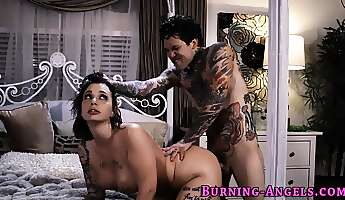 inked up goth gets fucked
