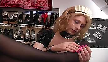 maid in a leather lesbian foot fetish