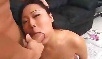 horny asian petite got her throat pumped by a huge meatbone