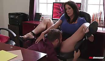 insatiable brunette is sucking cocks even in her office and expecting a good fuck even at work