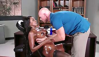 bitchy black boss stretched nicely by bald masseur in cabinet