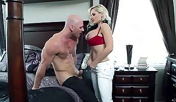 blonde cougar is off to work but her husband wants some loving