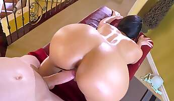 a thick milf with a huge ass and a big set of tits is getting fucked