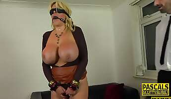 real blonde cougar with big tits rides