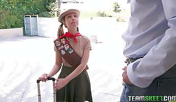 adorable blonde scout girl daphne dare is too busy fucking a guy to finish her tasks