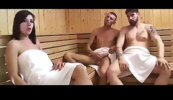 2 guys 1 girl in spa