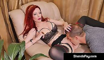 foxy redhead in erotic lingerie licked and pounded balls deep