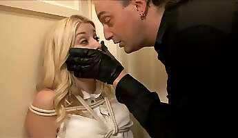 adorable blonde hottie submits to kinky bondage and rough maledom