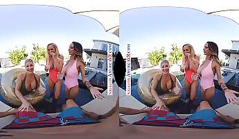 busty babes get dicked down in a pov vr foursome