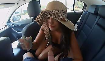 need in money motivates blackhaired hottie to give handsome guy a blowjob in the backseat while they are in taxi after they arrive at studs place tanned chick is ready for quick sex and cumshot on boobs