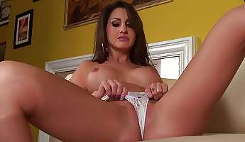 bodacious brunette needs someone to bang her cooch shes making a promo by posing for the camera with her tasty curves and playfully pleasures herself with a purple dildo