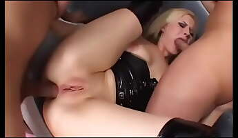 the favorite cocktail of young fairhaired bimbo wearing leather lingerie aaralyn barra is juice shaked in her mouth and squirted there by couple of horny gentlemen after they had drilled her from both sides