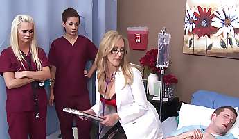 slutty doctor brandi love rides dick as the nurses watch
