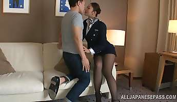 hot stewardess is an asian doll in high heels
