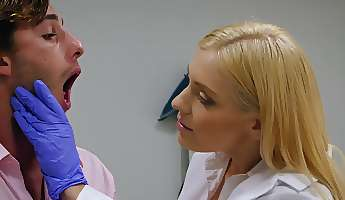 blonde doctor sucks patient cock and fucks on the exam table