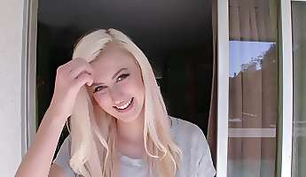 enjoyable honey with blonde hair in her first porn video ever