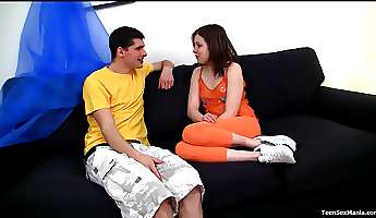 peggy is a cute brunette who cannot resist a fat boner