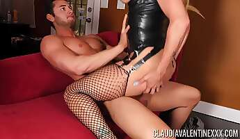 crazy fuck in the couch for the milf in leather costume