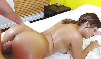 a bimbo with a sexy ass is getting massaged and also licked too